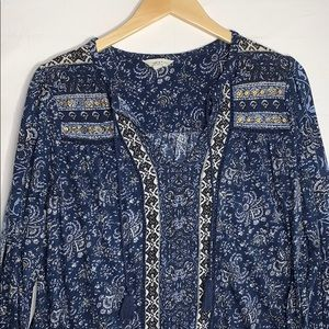 Lucky Brand Women's Blue Floral Print Blouse